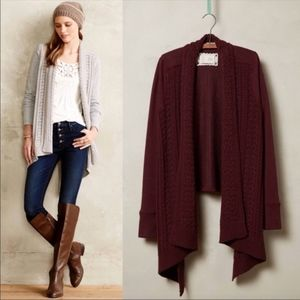 Anthro Saturday Sunday Marron cable knit cardigan